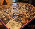 Working on the photo collage for my Uncle Mike's memorial