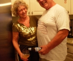 Uncle Skip pouring Aunt Kathy's beer