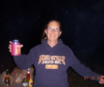 Just arrived at the campsite and mom has her beer in hand