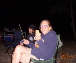 Mom eating s'mores for the first time ever