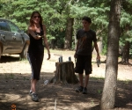 Risa throwing Horseshoes