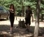 Risa throwing Horseshoes