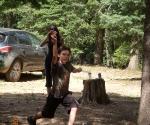 Lucas throwing Horseshoes