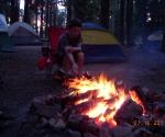 Lucas tending the fire