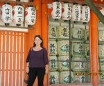 Cheryl and sake barrels