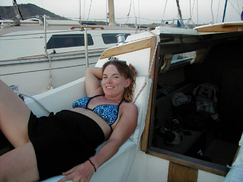 Cheryl! relaxing on the boat