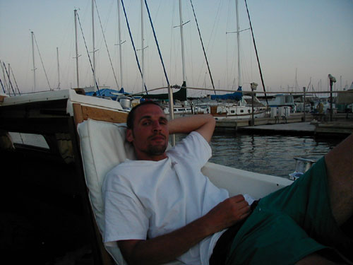 Karl relaxing on the boat