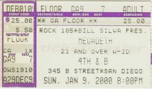 Megadeth San Diego 2000